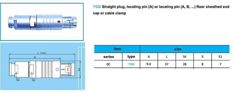 tgg.0c push pull waterproof connector,cable collet and nut for fitting a bend relief