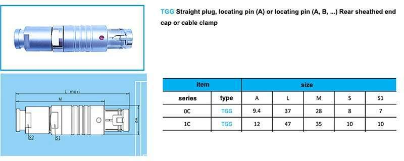 tgg.1c push pull waterproof connector,cable collet and nut for fitting a bend relief