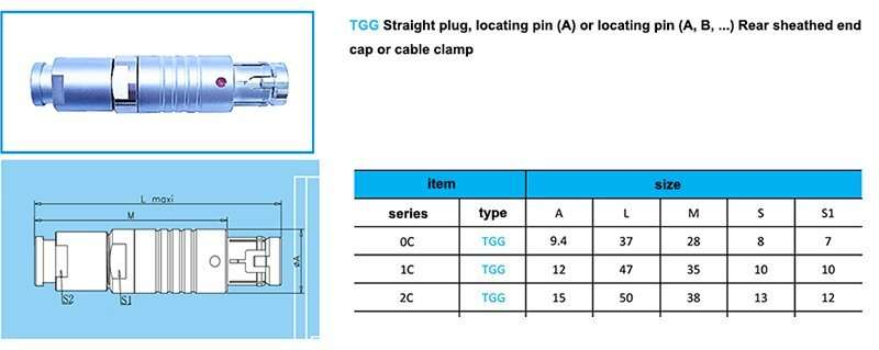 tgg.2c push pull waterproof connector,cable collet and nut for fitting a bend relief